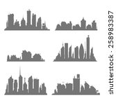 city silhouettes set  | Shutterstock .eps vector #258983387