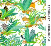 seamless pattern with cute cats ... | Shutterstock .eps vector #258985181