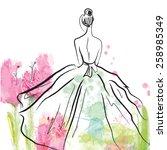 fashion girl in beautiful dress ... | Shutterstock .eps vector #258985349
