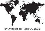 world map isolated on white... | Shutterstock .eps vector #259001639