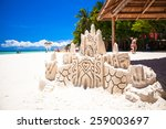 Sand Castle On White Tropical...
