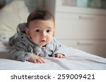 small baby crawling on the bed... | Shutterstock . vector #259009421