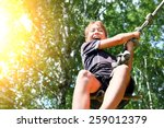 kid bungee jumping in the... | Shutterstock . vector #259012379