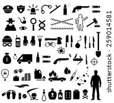 vector crime icons  police  law ... | Shutterstock .eps vector #259014581