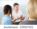 group of young people having... | Shutterstock . vector #259027421