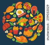 flat food icons. | Shutterstock .eps vector #259032029
