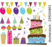 birthday party set | Shutterstock .eps vector #259034801