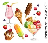 vector set of stylized summer...   Shutterstock .eps vector #259035977