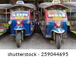 Постер, плакат: Tuk tuks parked on