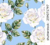 Stock vector white roses seamless watercolor pattern 259071797