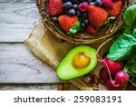 fruits and vegetables on rustic ... | Shutterstock . vector #259083191