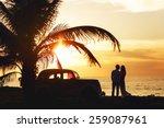 wedding sunny couple in cuba... | Shutterstock . vector #259087961