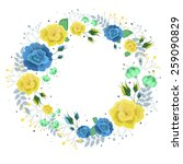 Floral Wreath With Yellow And...