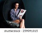 happy woman sitting on bubble...   Shutterstock . vector #259091315