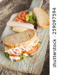 sandwich with lettuce  tomato ... | Shutterstock . vector #259097594