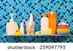 shelf in the bathroom with the... | Shutterstock . vector #259097795