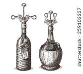 bottle of wine vector logo...   Shutterstock .eps vector #259103327
