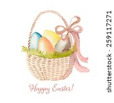 happy easter watercolor basket... | Shutterstock .eps vector #259117271