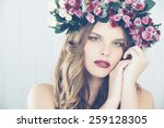 beautiful girl with flower... | Shutterstock . vector #259128305