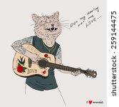 hand drawn illustration of cat... | Shutterstock .eps vector #259144475