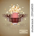 jumping popcorn and movie film... | Shutterstock .eps vector #259168505