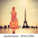 Redhead Girl With Suitcase On...