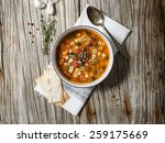 a bowl of minestrone soup with... | Shutterstock . vector #259175669
