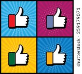 pop art thumbs up   like hand... | Shutterstock .eps vector #259179071