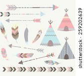 tribal tee pee tents collections | Shutterstock .eps vector #259202639