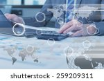 close up of business man typing ... | Shutterstock . vector #259209311