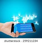 modern mobile phone in the hand  | Shutterstock . vector #259211234