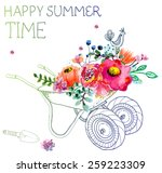 watercolor flowers and garden... | Shutterstock .eps vector #259223309