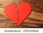 Broken Heart On Rustic Wooden...