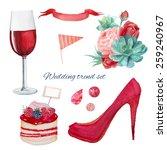 Watercolor Red Color Wedding...