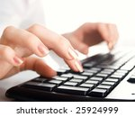 girl hands typing on the... | Shutterstock . vector #25924999