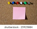 pink note with colored push pins   Shutterstock . vector #25925884