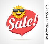 summer sale label with smiling...   Shutterstock .eps vector #259273715