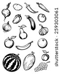 variety sketches of fruits and... | Shutterstock .eps vector #259303061