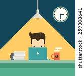 businessman working overtime... | Shutterstock .eps vector #259308641