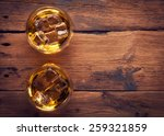 whiskey bourbon in a glass with ... | Shutterstock . vector #259321859