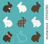 Set Of Cute Easter Rabbits In...