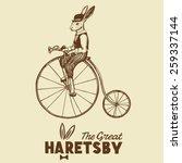 hand drawn vintage rabbit on... | Shutterstock .eps vector #259337144
