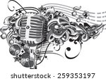 Vector Vintage Microphone On...