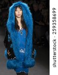 Small photo of NEW YORK, NY - FEBRURY 18, 2015: Issa Lish walks the runway at Anna Sui Fall 2015 Collection at The Theater at Lincoln Center