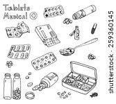 hand drawn medicine doodle... | Shutterstock .eps vector #259360145