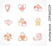 vector set of logos with hand  ... | Shutterstock .eps vector #259360229