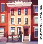 city houses facades. vector... | Shutterstock .eps vector #259376009