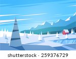winter landscape. vector... | Shutterstock .eps vector #259376729