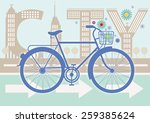 blue bicycle on the streets of... | Shutterstock .eps vector #259385624