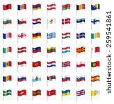 world flags on pole europe part ... | Shutterstock .eps vector #259541861